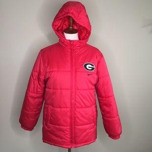 Nike Youth UGA Georgia Hooded Puffer Coat Sz 16/18